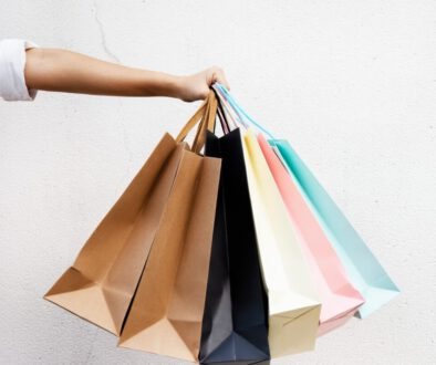 want the goods multi-colored shopping bags