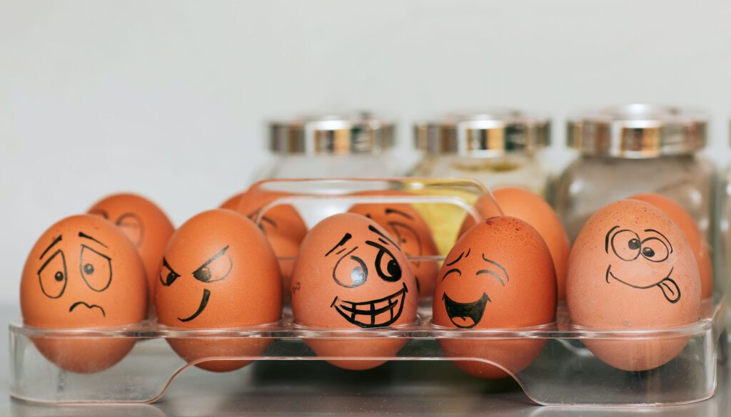 quirky eggs with crazy faces