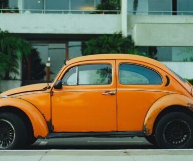 volkswagon beetle old vintage orange yellow car enthusiast gift gifts
