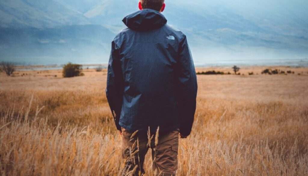man in field facing mountains with back turned toward camera