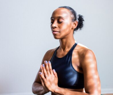 woman serene and calm in yoga pose