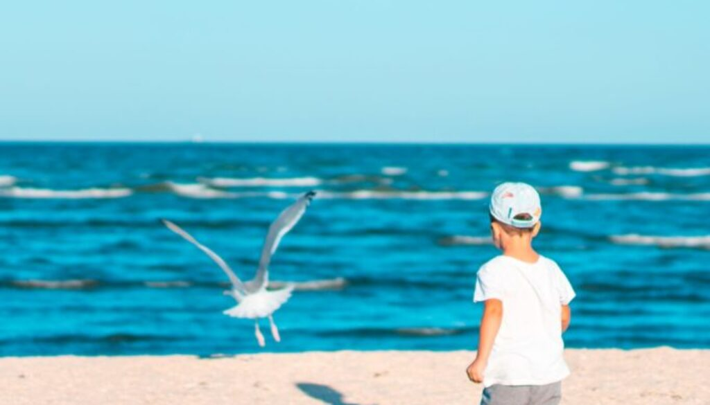 three year old boy in a hat walking on a beach with white sand and blue sky and water in the background