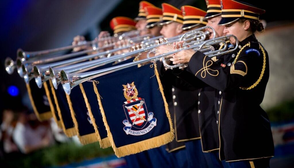 military band with seven silver fanfare trumpets