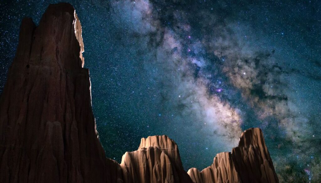 the milky way brilliantly displayed in a clear sky with desert buttes and mountains framing the scene
